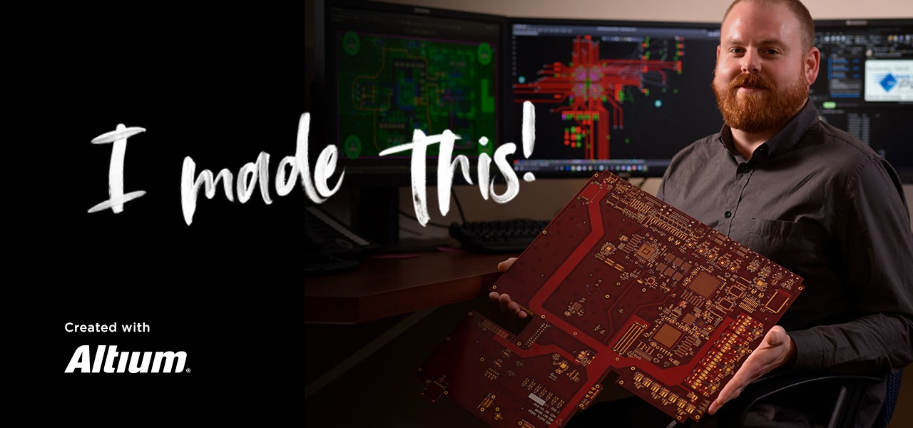"Image of San Diego PCB holding PCB board with the text ""I made this"""