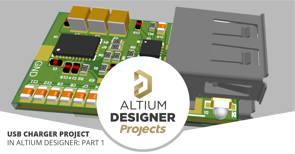 3D view of USB charger project in Altium Designer