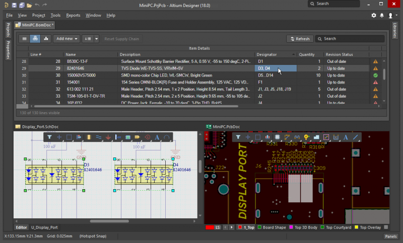 L'interfaccia CAD nell'editor PCB in in Altium Designer