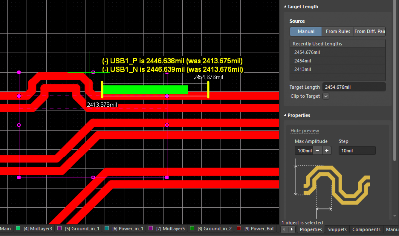 Screenshot of differential pair length matching in Altium Designer