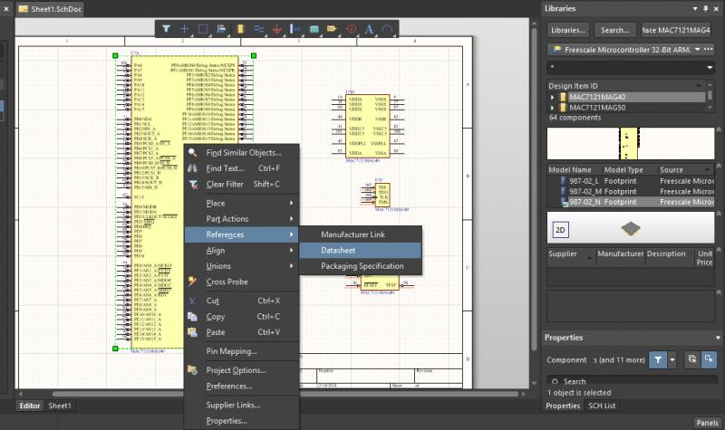 Accesso alle informazioni sui componenti nella progettazione schematica del routing del PCB