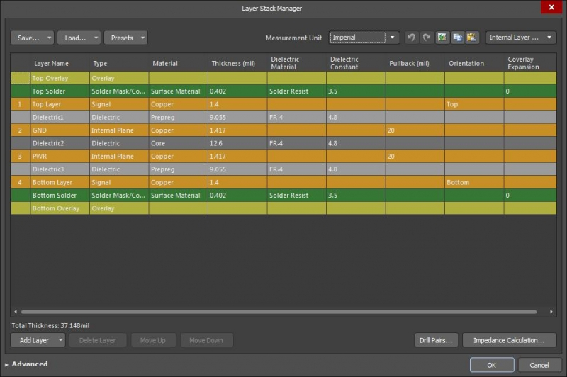 Screenshot of Altium Designer layer stack manager in PCB copper thickness