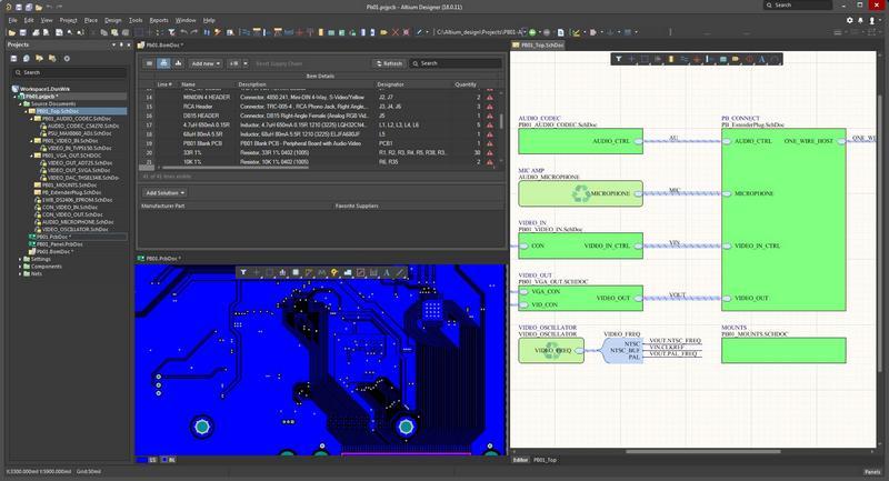 回路図、レイアウト、BOMのAltium Designerセッションのスクリーンショット