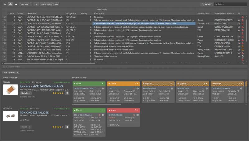 Screenshot of the supply chain capabilities in Altium Designer
