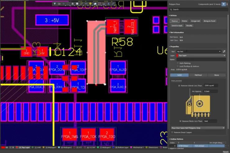 Coplanar waveguide routing in Altium Designer
