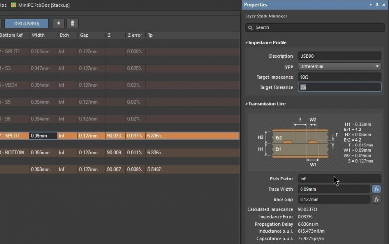 Screenshot of the new layer stack manager with an integrated differential microstrip impedance calculator