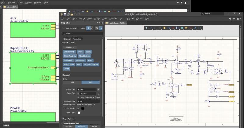 Vista del programa para hacer esquemas eléctricos Altium Designer