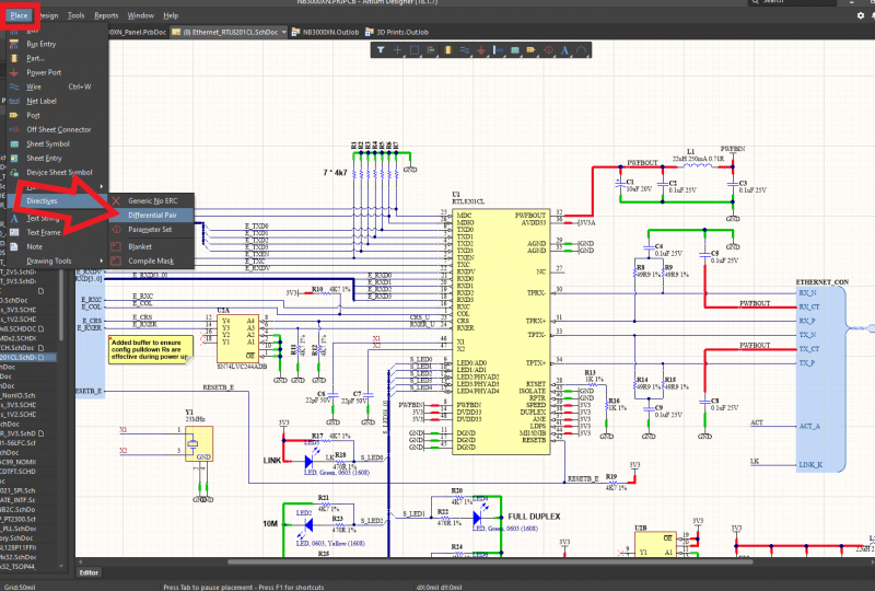 回路設計ツールでの差動ペアの定義