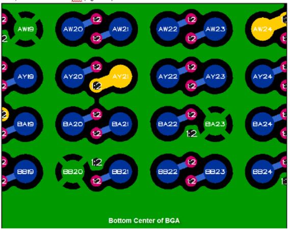 Ejemplo de «salida oscilante» para una BGA grande de 0,8mm que incluye un relleno de tierra de superficie Diseño de interconectores HDI: ejemplo de «salida oscilante» para una BGA grande de 0,8 mm que incluye un relleno de tierra de superficie