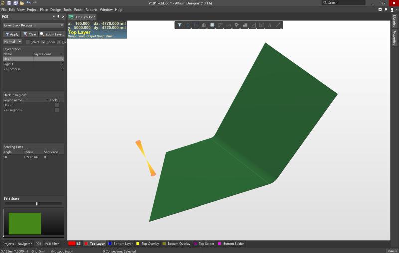 Definisci le aree di curvatura del tuo PCB rigid flex mentre crei il layout per la tua scheda