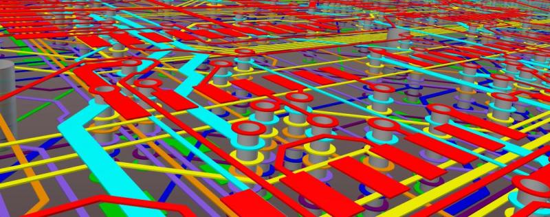 Captura de pantalla de la vista en 3D del ruteo de trazos en Altium Designer