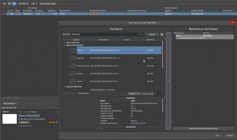 Vista de Active BOM de Altium Designer