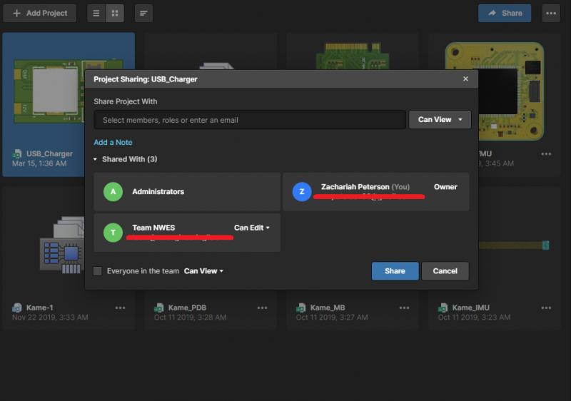 Screenshot showing user access control in Altium Concord Pro