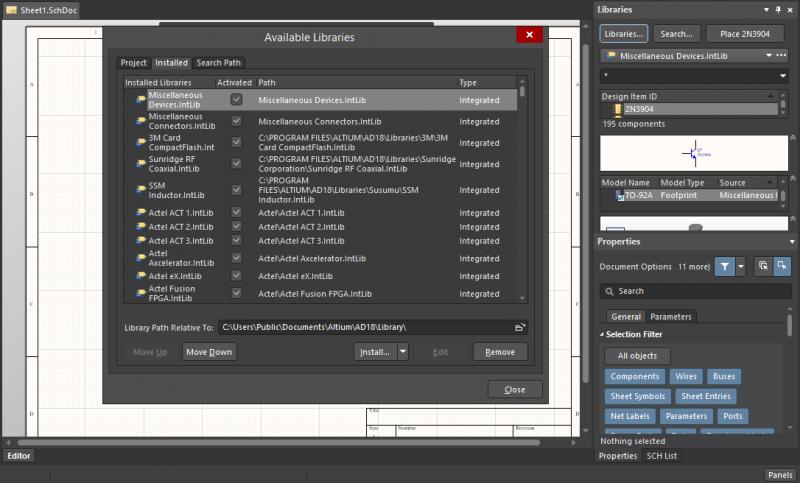 PCB libraries and PCB data management in Altium Designer
