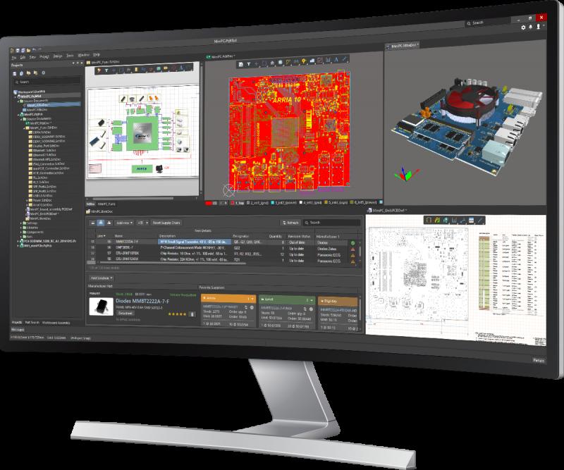 Screenshot von AD18 auf dem Monitor in PCB Design Services