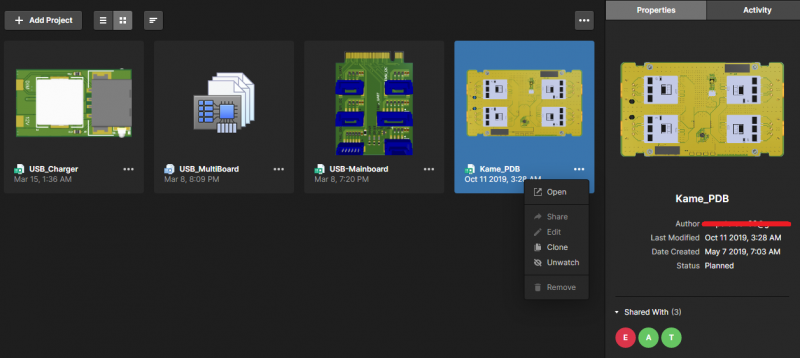 Screenshot showing limited project access in Altium Concord Pro