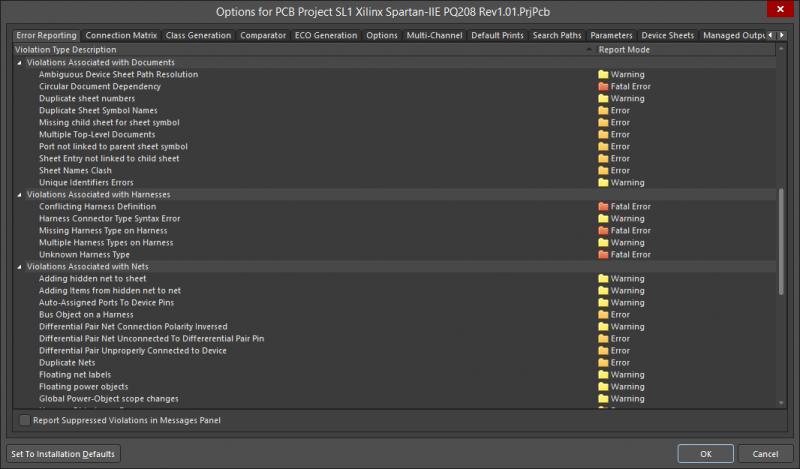 Options de rapport d'erreurs pour les fichiers de production d'Altium Designer