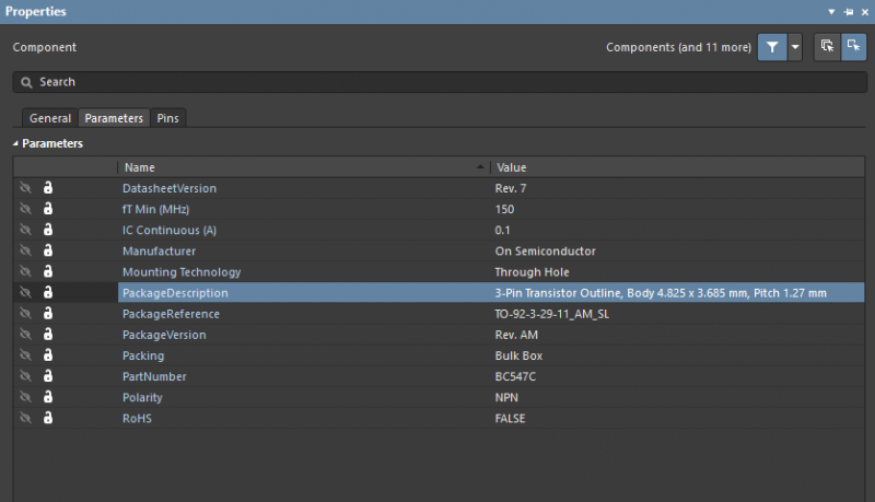 Parameters menu within the Properties Panel