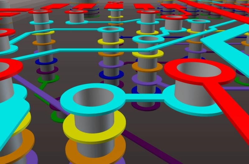 Vias arranged in the Altium Designer model viewer