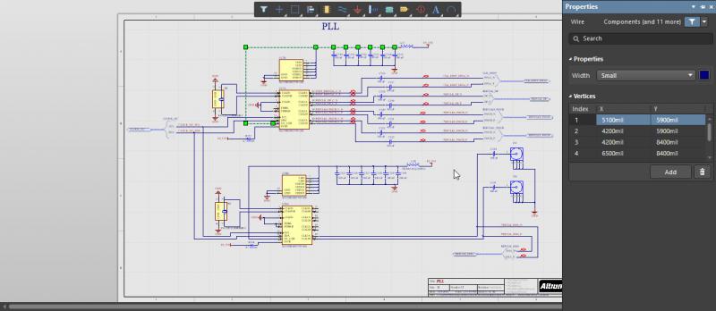 Schematic of the PCB schematic editor in Altium Designer