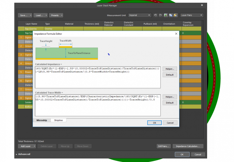 Impedanzformel-Editor im Layer Stack Manager