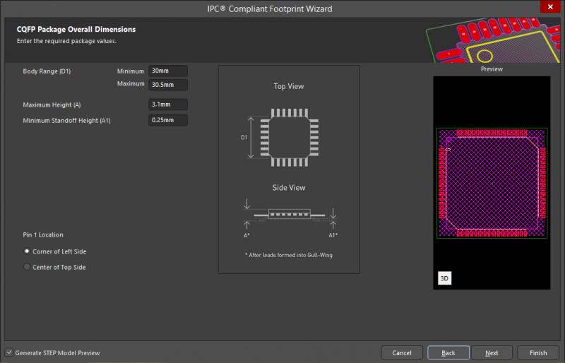 Screenshot of the IPC Compliant Footprint Wizard in Altium Designer