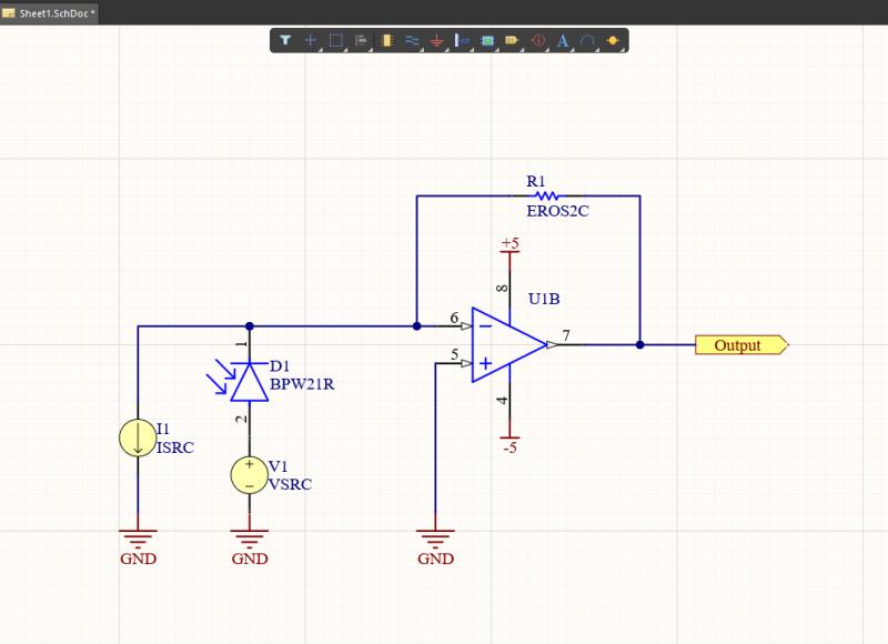 Photodiode circuit simulation model