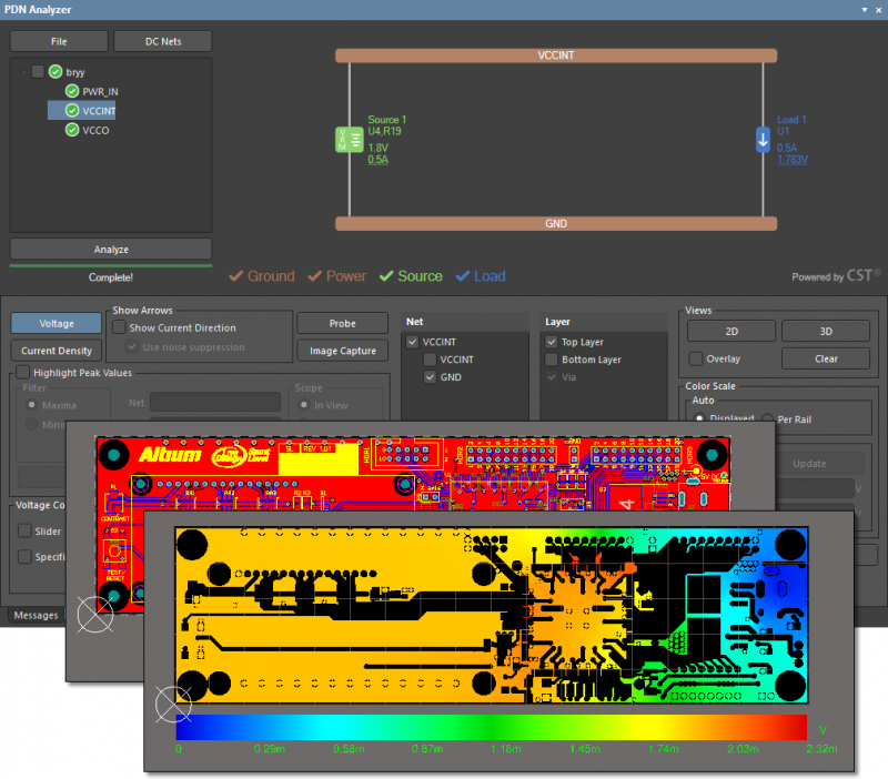 Altium Designerで使用されているPDN Analyzerのスクリーンショット