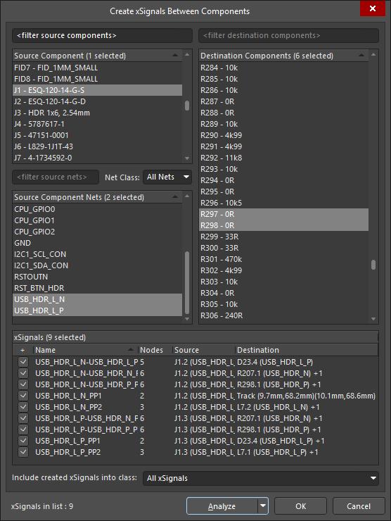 Créez des xSignals pour les longueurs maximales des pistes de PCB calculées pour le routage