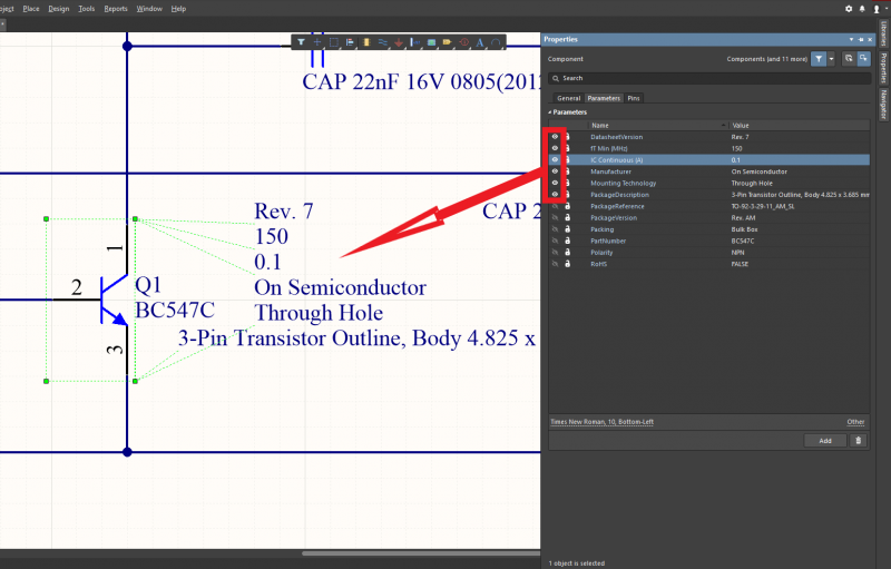 Features of a part may be defined and edited in component parameters