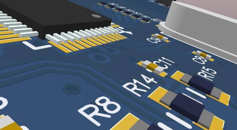 Screenshot of a close-up 3D view in Altium Designer
