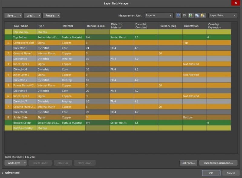 Altium Designer's Layer Stackup manager
