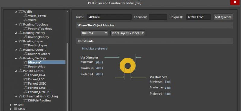 Screenshot of the PCB Rules and Constraints Editor in Altium Designer