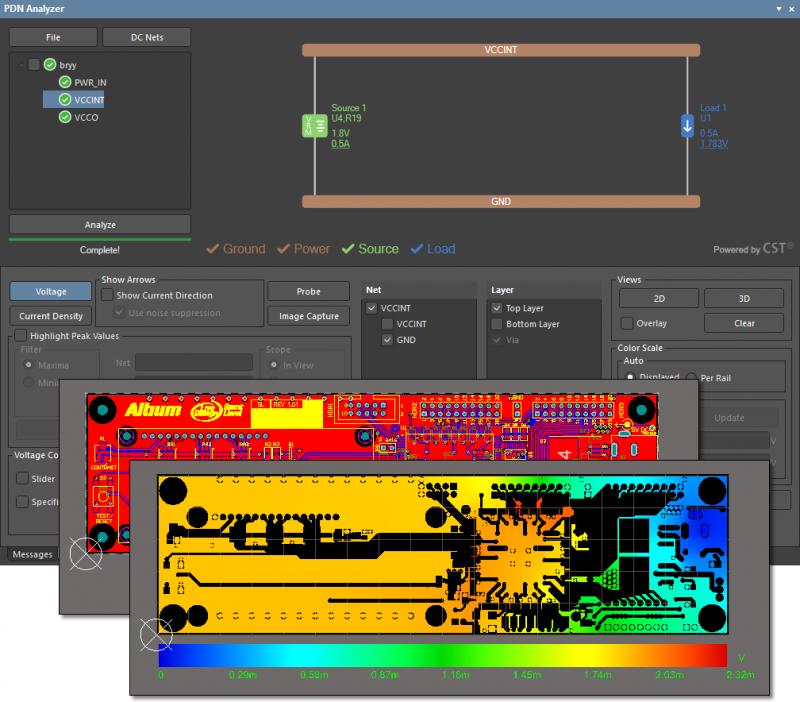 Screenshot of the PDN Analyzer extension results in Altium Designer