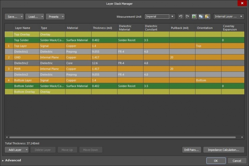 Screenshot of PCB board thickness in AD18 layer stack manager