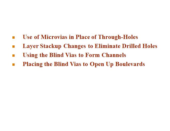 TABLEAU 1, Nouveaux principes pour la conception HDI non utilisés pour les cartes multicouches TH.