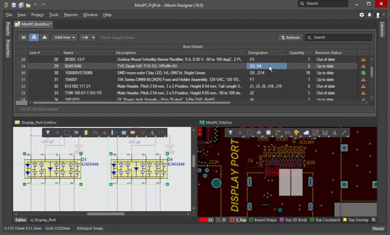 Interfaz CAD en Altium Designer, un software integrado de diseño de PCB