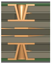 Microvía de salto entre dos dieléctricos cuando no se necesita otra estructura multicapa completa