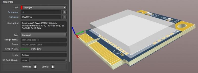 Diseño de módulo Wifi en 3D y propiedades en el software de diseño de PCB de RF AD18