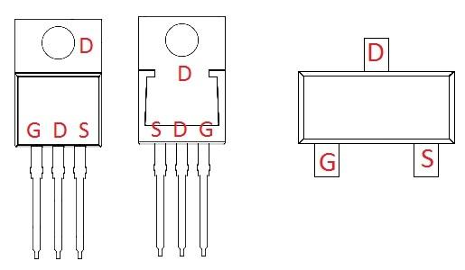 alternatifpièces de transistor à brochage MOSFET