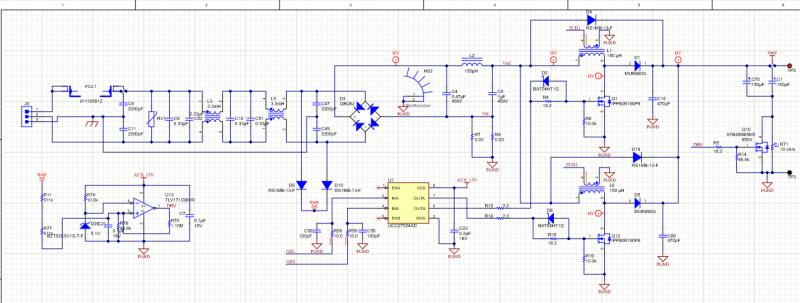 Power supply design rectifier, EMI filter, PFC, and buck converter in Altium Designer