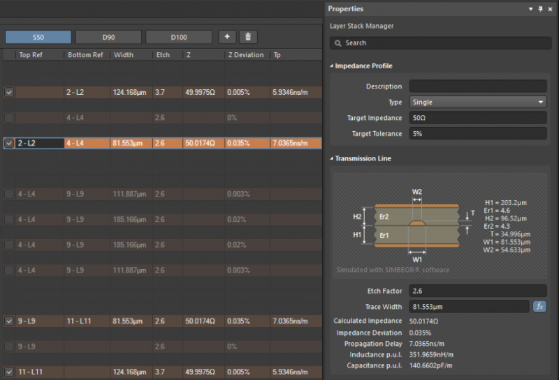 PCB stackup design and coplanar waveguide calculator in Altium Designer