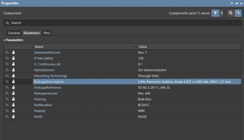 PCB et composants : Le menu Paramètres définit le nom et la valeur de chaque élément