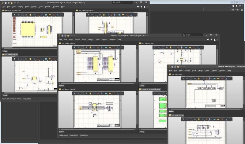 Captura de esquemáticos del software de diseño CAD para PCB Altium Designer