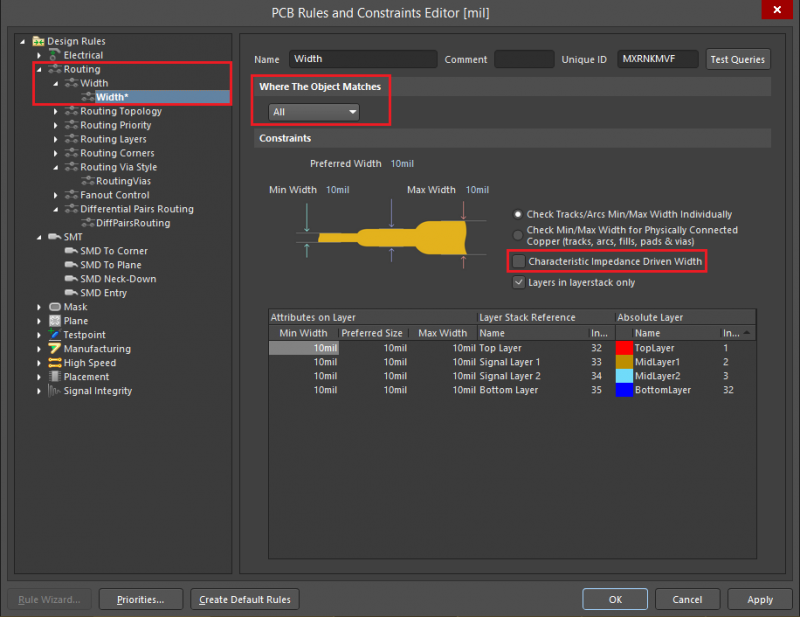 Screenshot of the Rules and Constraints Editor in Altium Designer