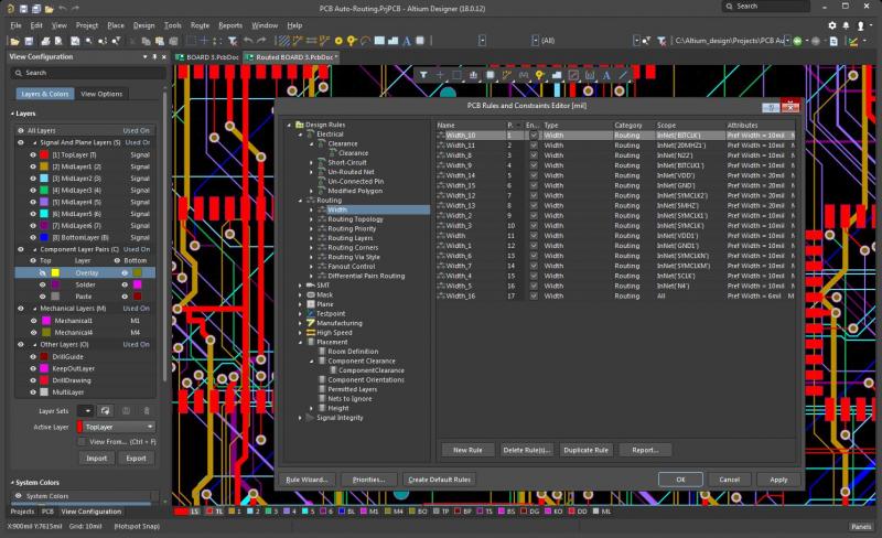 Capture d'écran de l'éditeur des règles de conception et des contraintes d'Altium Designer