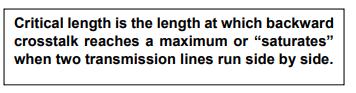 Screenshot of forward and backward crosstalk as function of coupled length