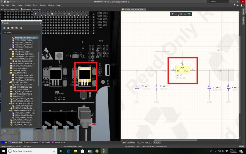 PCBと回路図のクロスプローブ