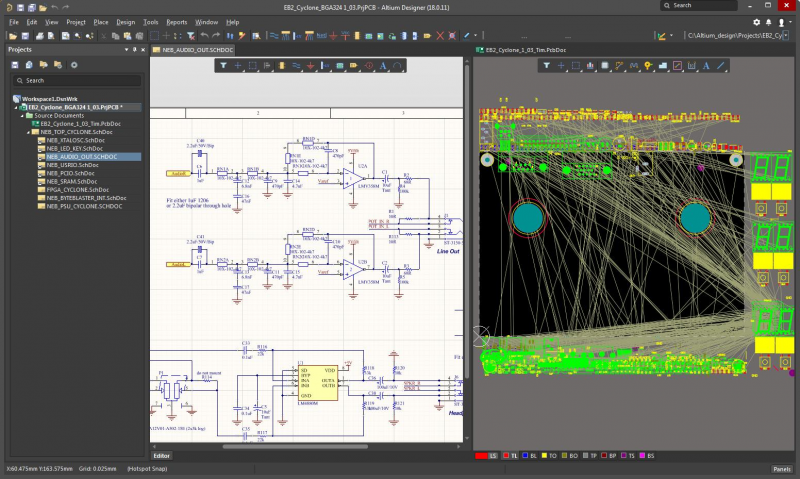 Screenshot of the schematic and layout features in Altium Designer