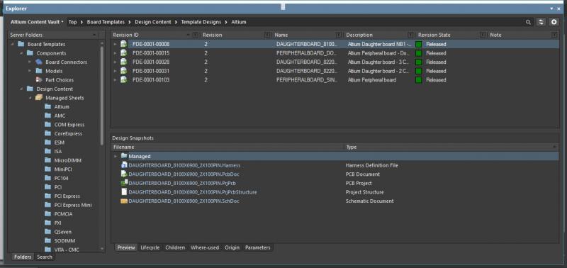 Screenshot of the template explorer in Altium Designer